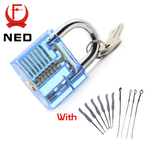 Blue Transparent Visible Pick Cutaway Practice Padlock Lock With Broken Key Removing Hooks Lock Extractor Set Locksmith Tool