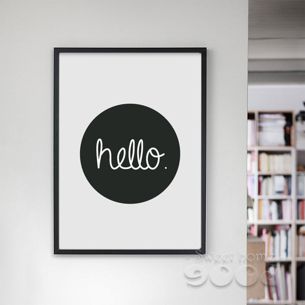 Cartoon Hello Quote Canvas Art Print, Wall Pictures for Home Decoration, Painting Poster Frame not included