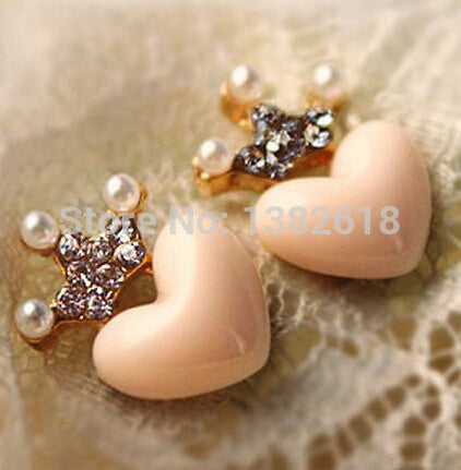 Mellow Pink Crystal Crown Peach Heart Love Stud Earrings Pearl earrings for Women