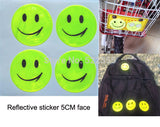 1 sheet (4 pcs), 5CM Reflective sticker smile face for motorcycle, bicycle, kids toy, any where for visible safety