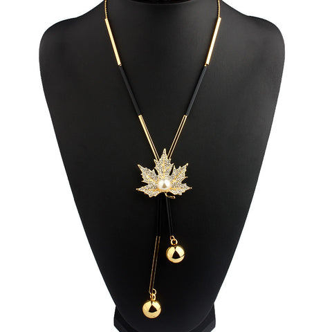 viviLady Lovely Maple Leaf Long Beaded Chain Tassel Pendant Necklace Women Office Lady Imitation Pearl Jewelry
