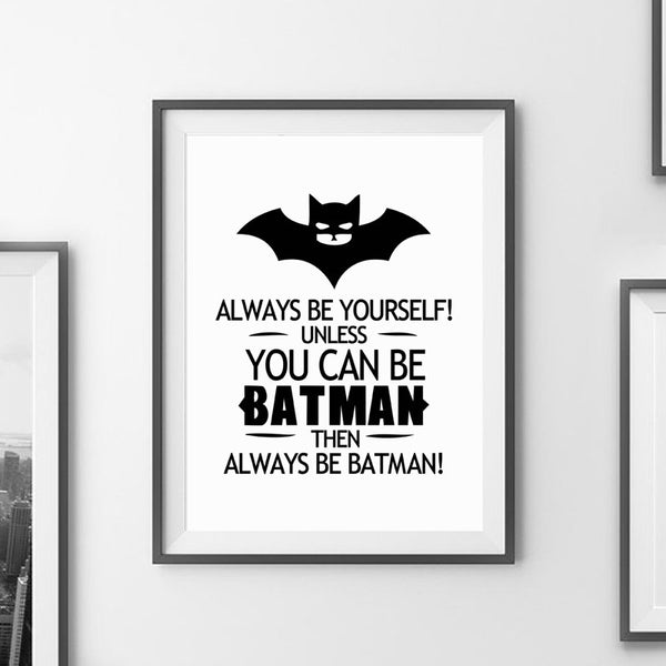 Batman quote canvas art print poster wall pictures for home decoration black and white prints wall