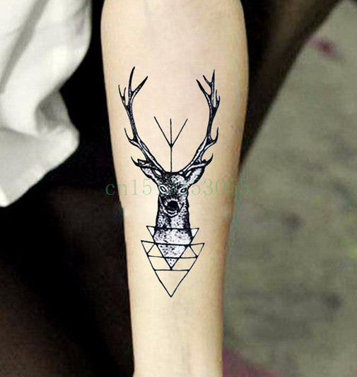 Waterproof Temporary Tattoo Sticker elk head deer tattoo bucks horn antlers Water Transfer fake tattoo flash tattoo for men girl