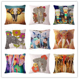 Fashion Colorful Elephant Printed Modern Minimalist Linen Cotton Cushion For Sofa Home Decorative Pillow Throw