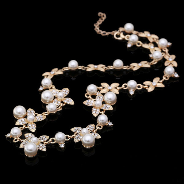 Quality Gold Plated Inlaid With Imitation Diamond Short Choker Pearl Necklace