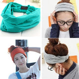 Variety of wear method Cotton Elastic Sports Headbands Wide Headband