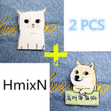 2 PCS Animal Lovely Cartoon Brooches Pins Cute Cat and Dog Simpson Broche Mini Acrylic Enamel Lapel