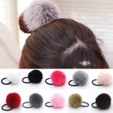 Korean Artificial Rabbit Fur Ball Elastic Hair Ties Bands Rope Ponytail Holders Girls Hair Clip Headband Hair Accessory