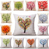 Seasons of Life Tree Cotton Linen Colorful Decorative Pillow Case Chair Square Waist and Seat 45x45cm Pillow Cover Home Textile