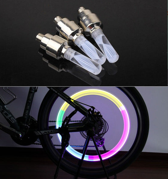 1pcs bike lights mtb mountain road bike bicycle lights LEDS Tire Valve Caps Wheel spokes LED Light auto lamp