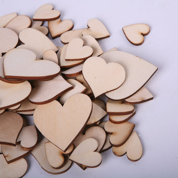 100pcs/Bag Blank Unfinished Wooden Heart Crafts Supplies Laser Cut Rustic Wood Wedding Ornaments