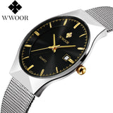 Men's Watches luxury brand watch men Fashion sports quartz-watch stainless steel mesh strap ultra thin dial date clock