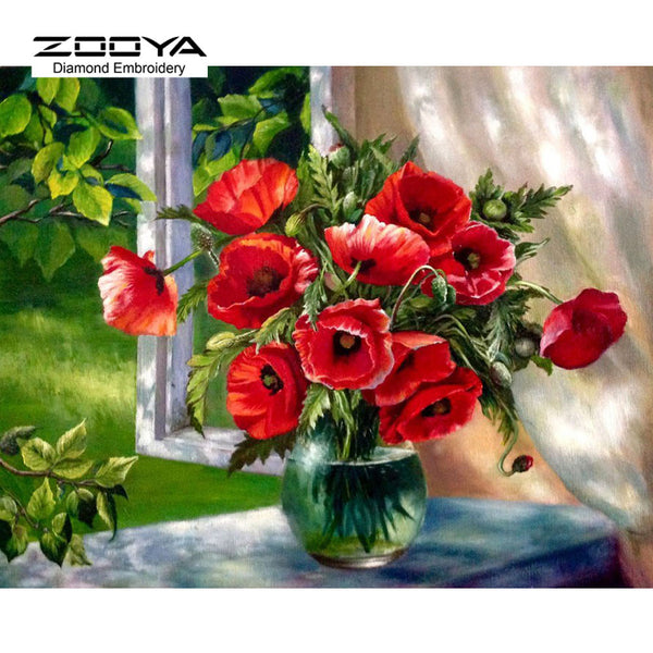 3D Diamond Painting Cross Stitch Red Floral Vase Crystal Needlework Diamond Embroidery Flower Full Diamond Decorative