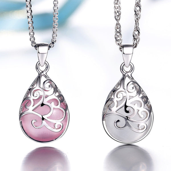 Silver plated pendants female Love the Trevi Fountain Moonlight Opal Fashion Jewelry