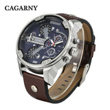 Luxury Men's Watches Quartz Watch Men Fashion Wristwatches Leather Watchband Date Dual Time Display Military Watches Men
