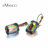 eManco 19 Color Minimalist Geometric Lever-Back Dangle Drop Earrings for Women Blue Crystal Opal  Jewelry Accessories