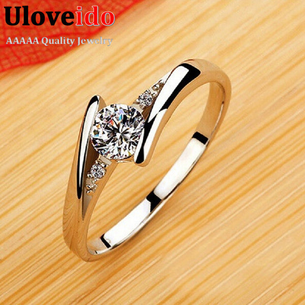 Zirkon Ruby Crystal Fashion Silver Plated CZ Diamond Jewelry Wedding Rings Rose Gold Plated Charming Jewelery Women Bijoux