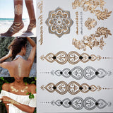 Fashion flower body temporary henna tattoos metallic gold and silver bracelet stickers Flash tattoo art