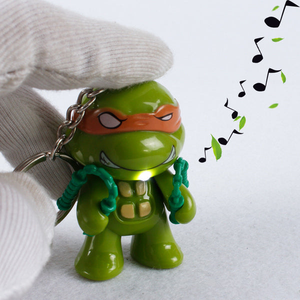LED Lighting Teenage Mutant Ninja Turtles TMNT Action Figure Toys With Sound Keychain