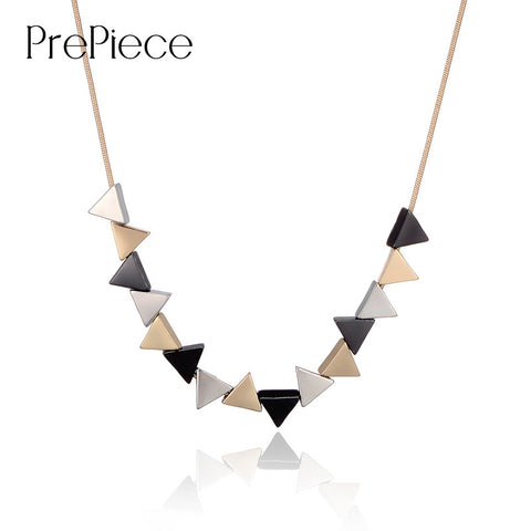 Unique Geometric Triangle Shaped Alloy Pendant Necklace Party Trendy Vintage Jewelry for Women