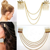 Metal Tassel Chain Headband Women Hair Accessories Clip Hair Comb Bridal Ladies Leaf Headwear