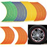 "16 Strips Bike Car Motorcycle Wheel Tire Reflective Rim Stickers And Decals Decoration Stickers 18"" 4 Color Car Styling"
