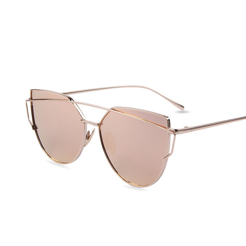 Mirror Flat Lense Women Cat Eye Sunglasses Classic Brand Designer Twin-Beams Rose Gold Frame Sun Glasses for Women