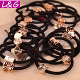 10 Pcs Fashion Women Hair Accessories Cute Black Elastic Hair Bands Rope Gum Rubber Band