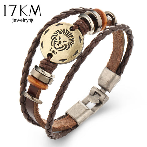 17KM Brand 12 Constellations Bracelets Fashion Jewelry Leather Bracelets Men Casual Personality Vintage Punk Bangle Gift