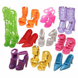 10 Pair Fashion Colorful Doll Accessories Shoes Heels Sandals For Barbie Dolls Toys