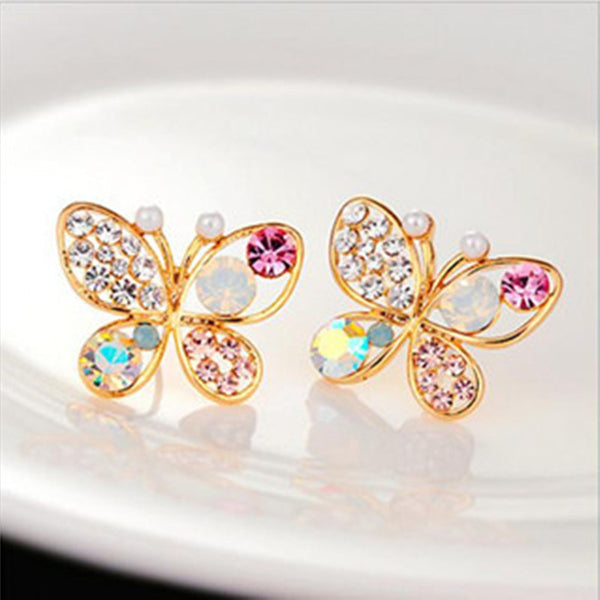 Trendy Women Animal Jewelry Fashion Luxury Hollow Shiny Colorful Crystal Butterfly Stud Earrings