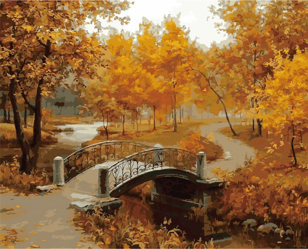 Framed pictures on canvas diy digital oil painting by numbers country bridge in fall home decoration unique gift craft painting