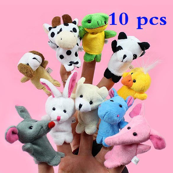 10PCS Cute Cartoon Biological Animal Finger Puppet Plush Toys Child Baby Favor Dolls