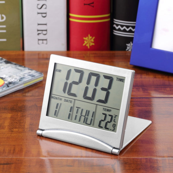 1pcs Calendar Alarm Clock Display date time temperature flexible mini Desk Digital LCD with Thermometer