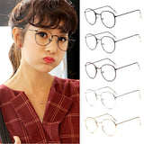 Fashion Vintage Womens Eye Glasses frames Plain Mirror Literary Harajuku big Metal oval frame glasses