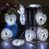10 LED Heart Shaped Christmas String Light Festival Halloween Party Wedding Decor Indoor/Outdoor Warm White Fairy Light Metal