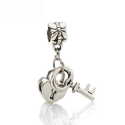 1Pc Silver Bead Charm European Silver with Love Lock key Charm Pendant Bead Fits Pandora Bracelet