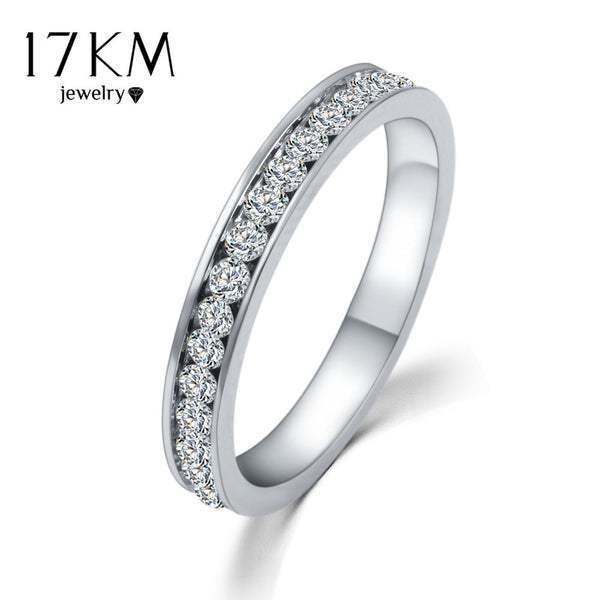 17KM Silver Color Crystal Wedding Rings for Women Titanium Men Stainless Steel Engagement Ring