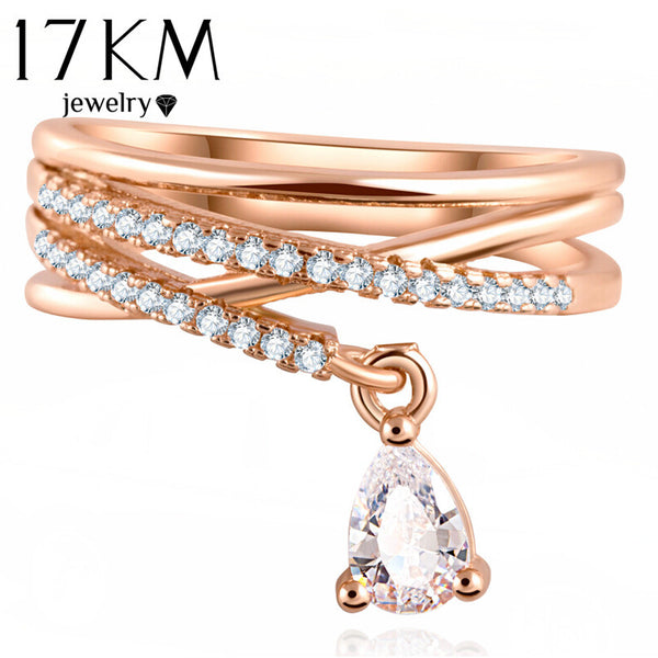 17KM Multilayer Cross Wedding Crystal Water Drop Ring Fashion Jewelry Zircon Rings For Women