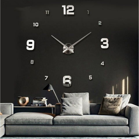 Home decor large roman mirror fashion diy modern Quartz clocks living room 3d wall clock
