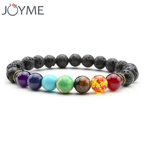 7 Chakra Bracelet Men Black Lava Healing Balance Beads Reiki Buddha Prayer Natural Stone Yoga Bracelet For Women