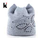 Winter Cat Beanie Knit Hats For Women Pearls Butterfly Diamond Beanie Touca Knitted Cap With Ear Flaps