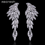 Mecresh 4 Colors Eagle Crystal Bridal Drop Long Earrings with Stones for Women Silver Plated Bird Party Wedding Jewelry