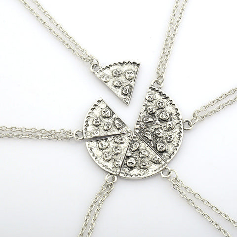 6pcs Pizza Pendant Necklaces Friendship Necklace Best Friends Forever Creative Keepsake Gift For Friend
