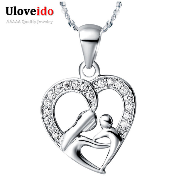 Uloveido Mothers Day Gifts for Mom Silver Plated Necklace Fashion Necklaces for Women