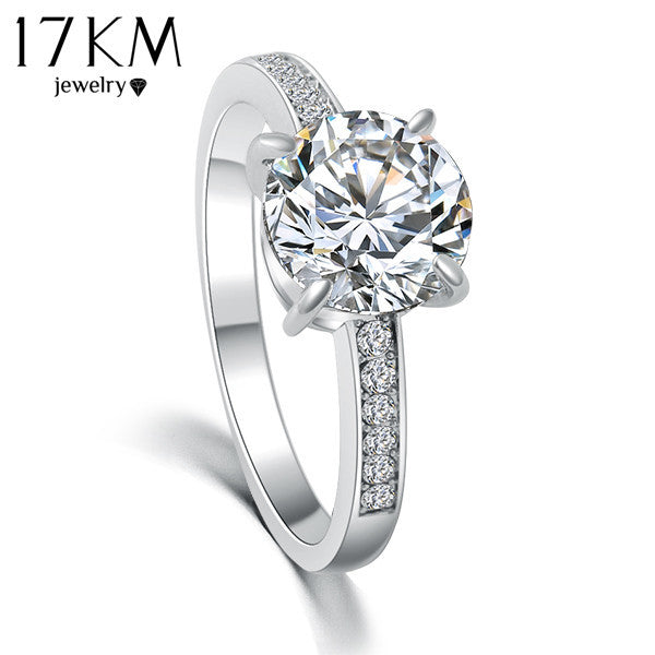 17KM Fashion Design Elegant Luxury Charm Austrian Crystal Zircon Ring Wedding Engagement Bridal Jewelry Rings For Women