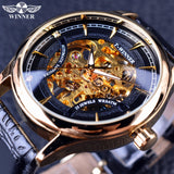 Winner Fashion Black Golden Star Luxury Design Clock Mens Watch Top Brand Luxury Mechanical Skeleton Watch Male Wrist Watch