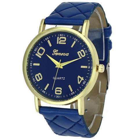 Geneva Quartz-Watch Women Casual Wristwatch Clocks Men's PU Leather Band Watches