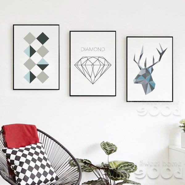 Sample Geometric Shape Canvas Art Print Painting Poster,  Wall Pictures for Home Decoration