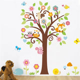 Owls tree wall stickers kids gift playroom decor nursery cartoon home decals animals mural arts flowers plant poster